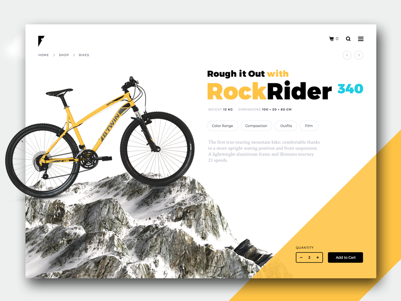 Banner for bicycle shyama yellow ux ui shopping product ecommerce cart banner