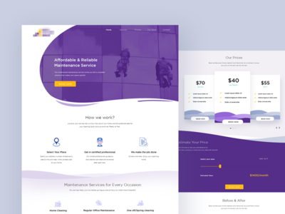 Landing page for a facility maintenance agency clean layout website design cleaning services maintenance cleaning company landing page landing illustration shyama design ux ui