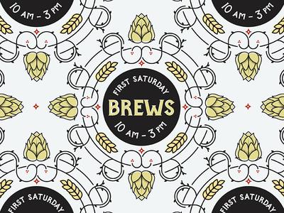 First Saturday Brews hops logo brew beer saturday pattern