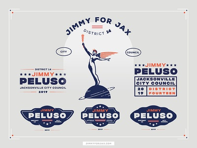 Jimmy for Jax politics badge logo america government blue white red city council