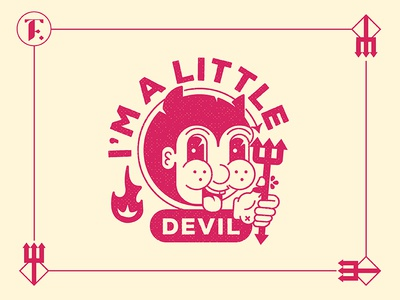 I'm a Little Devil illustration fire flame red pin chibi devil little