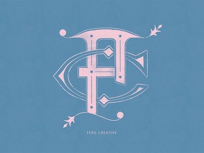 🙃 Classical Style Monogram Experiment 'FC' 🙂 jacksonville blue pink monogram badge vector illustration