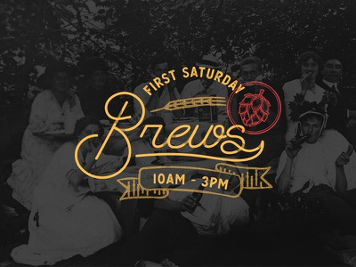 🍻First Saturday Brews Monoline logo red yellow orange badge brews beer vector jacksonville typography illustration monoline