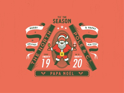 🎅PAPA NOËL holiday season santa claus 2020 2019 design red jacksonville badge vector illustration new year christmas santa