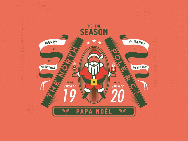 🎅PAPA NOËL holiday season santa claus 2020 2019 design red jacksonville badge vector illustration new year christmas santa