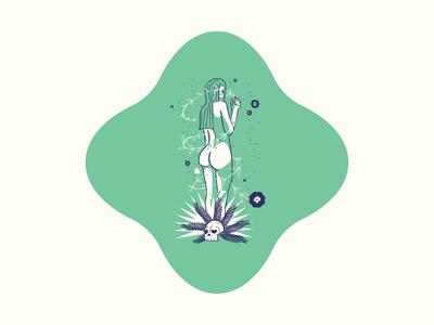 💀Femme Fatale 2/3 skull 2020 badge vector illustration woman mythology nymph sirens green series