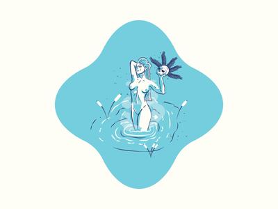 💀Femme Fatale 3/3 water skull badge jacksonville vector illustration woman mythology nymph sirens blue series 2020