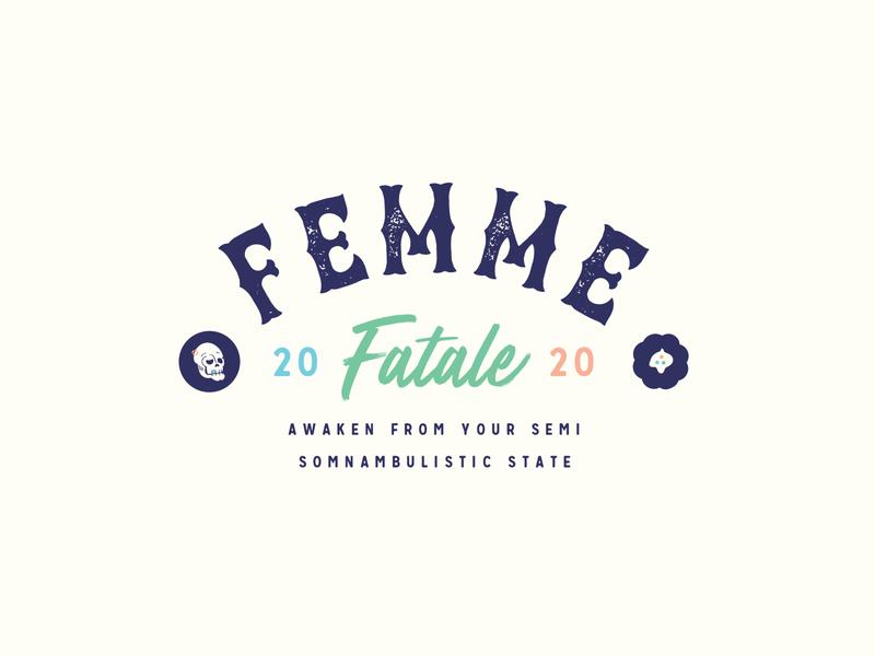 💀 Femme Fetale Badge design logo green red blue vector illustration woman mythology nymphs sirens fatale femme badge series 2020