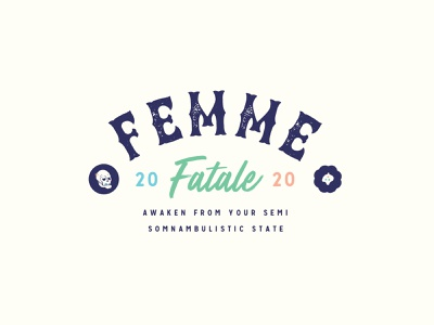 💀 Femme Fetale Badge design logo green red blue vector illustration woman mythology nymphs sirens fatale femme badge series 2020