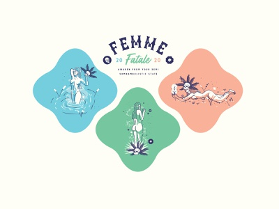 💀 Femme Fatale Series design logo red green blue jacksonville vector illustration woman mythology nymphs sirens fatale femme badge series 2020