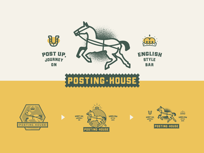 🐎 Unused: Posting House jacksonville vector illustration design branding badge logo green yellow 2019 journey up post english bar beer house posting horse unused