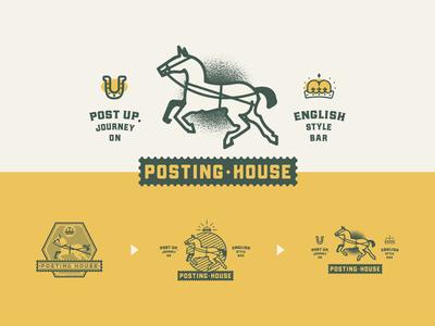 🐎 Unused: Posting House jacksonville vector illustration design branding badge logo green yellow 2019 journey up post english bar beer house posting horse unused