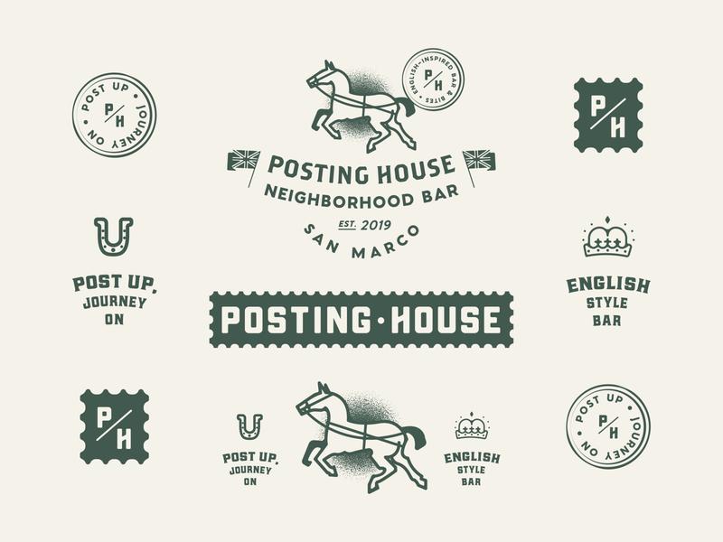 🐎 Unused: Posting House Extended jacksonville yellow vector unused posting post logo illustration house horse green english design branding beer bar badge 2019