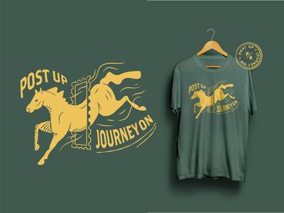 🐎Posting House T-shirt journey jacksonville yellow vector house posting post drawing illustration tee horse green t-shirt design branding beer bar badge 2019
