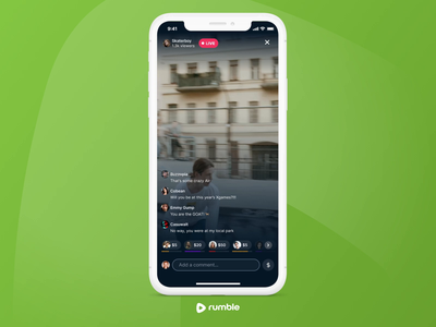 Rumble Live Video mobile apps animation ui