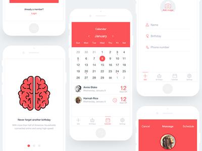 Birthday App ux ui reminder mobile brithday app