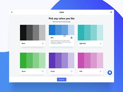 Onboarding (Color picker) onboarding color picker logojoy web design ux ui