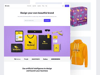 Looka - Homepage looka design logojoy ui flat looka landing page web design visual design branding brand