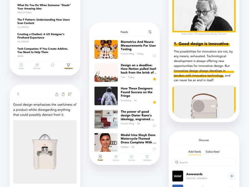 Focus app feed rss focused ios sketch prototype invision flat ux ui mobile