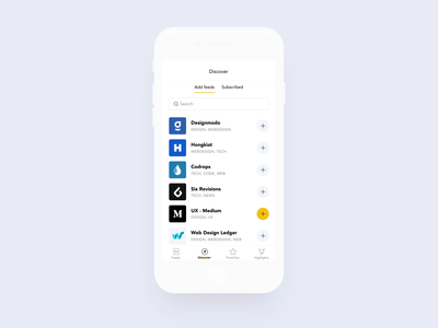 Focus - Subscribing to feeds animation ae mobile ui ux flat invision prototype sketch ios focused rss feed