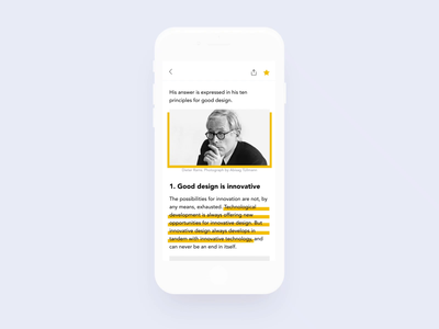 Focus  - Highlighting feed rss focused ios sketch prototype invision flat ux ui mobile ae animation