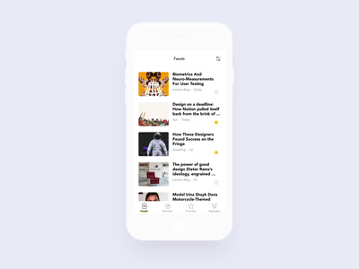 Focus - Highlight toggle feed rss focused ios sketch prototype invision flat ux ui mobile ae animation