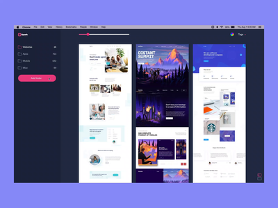 Spark - Managing folders prototype clean ae design flat ux ui