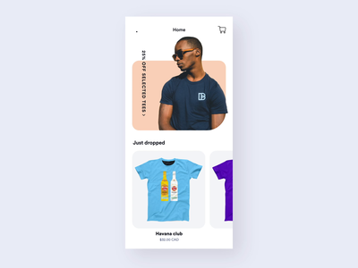 blamebento t-shirt shop clean ae prototype sketch mobile design ux flat ui