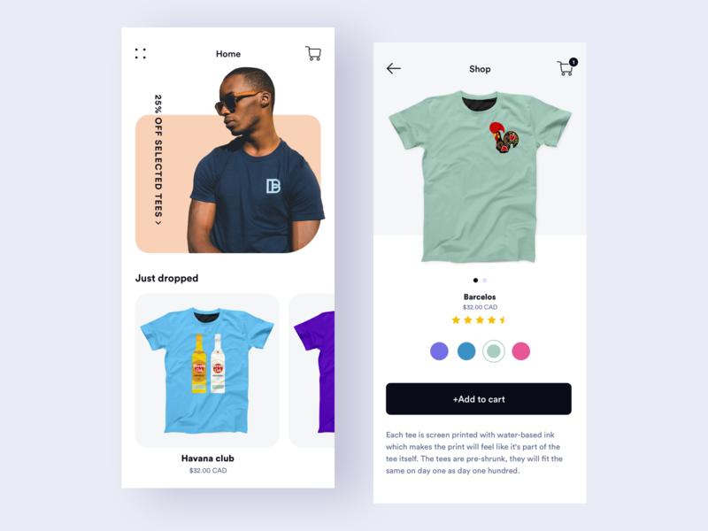 Home & Shop screens - blamebento t-shirt shop clean ae prototype sketch mobile design ux flat ui