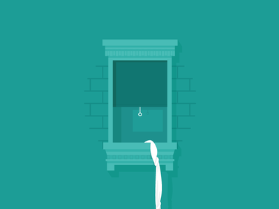 Escapee tapekingkong minimal flat illustration vector escape window green
