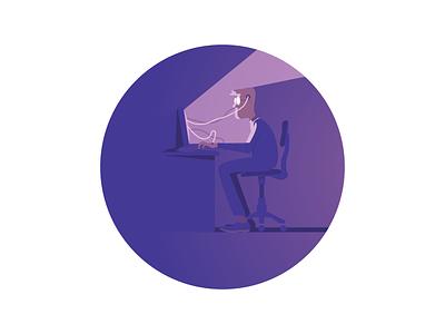 Daily Routine tapekingkong vector life office purple illustration