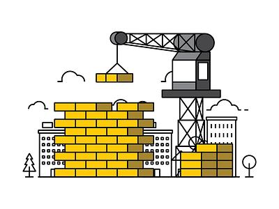 Yellow Brick editorial illustration spot illustration tapekingkong bricks city yellow vector illustration