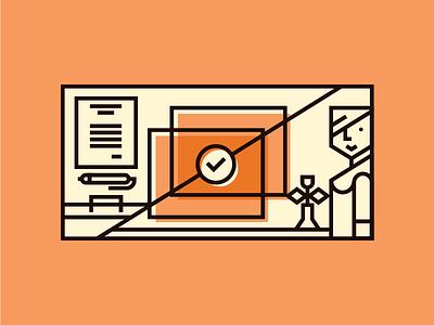 Ilustration for Slideshare tapekingkong 24slides slideshare scandinavian orange line vector illustration editorial