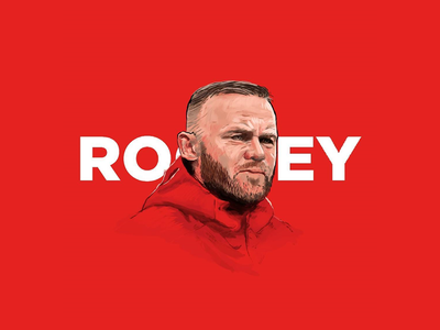 Wayne Rooney Tribute rooney wayne captain striker player soccer football athlete red digital-painting illustration tapekingkong