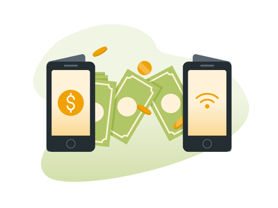 Virtual money transfer phone wireless technology mobile transfer money vector illustration tapekingkong radityazayadi