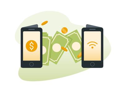 Virtual money transfer phone wireless technology mobile transfer money vector illustration tapekingkong radityazayadi