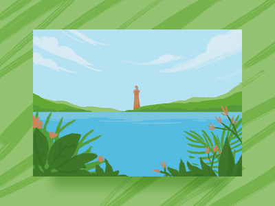 Summer Breeze valley lighthouse nature illustration