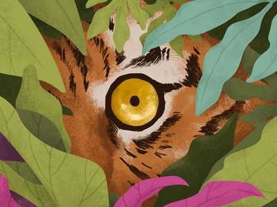 Eye of the Tiger leaves jungle tiger radityazayadi illustration