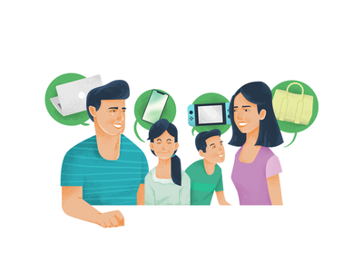 Impulsive website gadget family shopping illustration