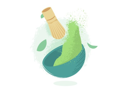 Matcha spot illustration for Tenzotea spot illustration tenzotea matcha vector illustration branding design branding