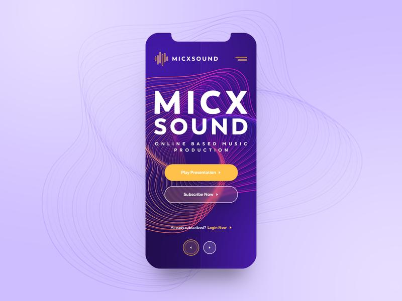 MICXSOUND Mobile psd freebie freepsd uidesign uiux webdesign mic production music sound mobile photoshop web responsive ux website ui design drawingart