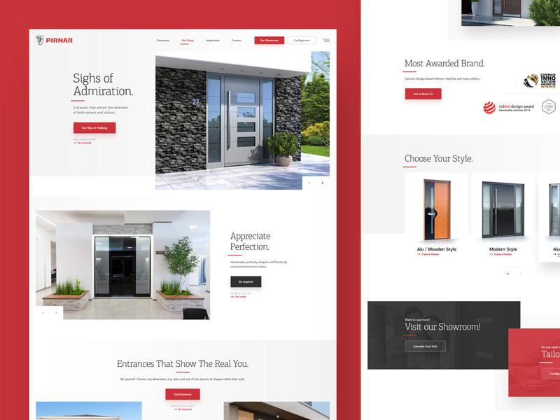 Pirnar entrance doors webdesign photoshop web responsive website ux ui design drawingart