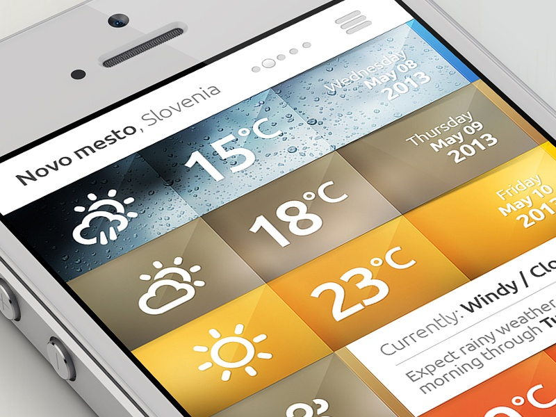 Weather iPhone APP weather ios iphone app design layout photoshop drawingart