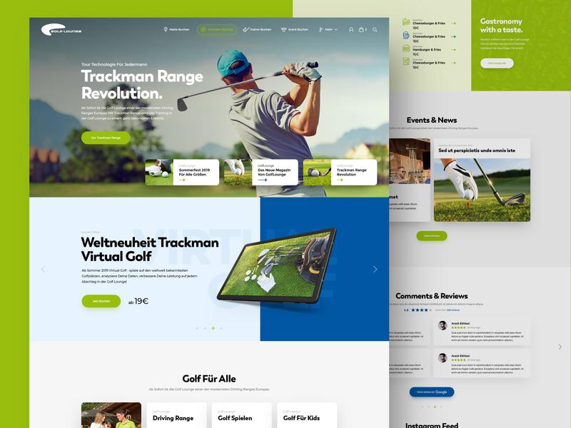 Golf Lounge golfing golf ball golf club golf minimal webdesign clean photoshop web responsive ux website ui design drawingart
