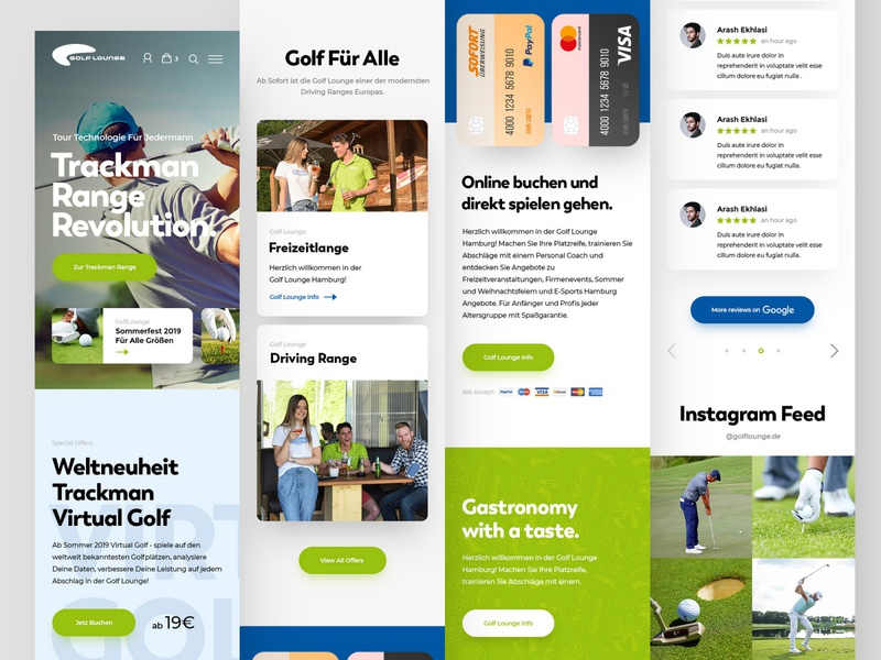 Golf Lounge Mobile mobile golfer golf ball golf club course golfing golf webdesign clean photoshop web responsive ux website ui design drawingart