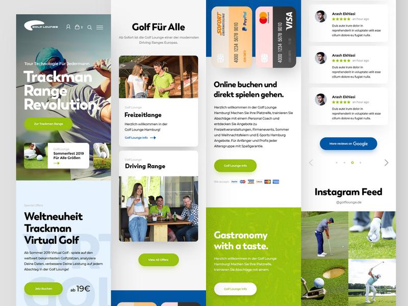 Golf Lounge Mobile mobile golfer golf ball golf club course golfing golf webdesign clean photoshop web responsive ux website ui design drawingart