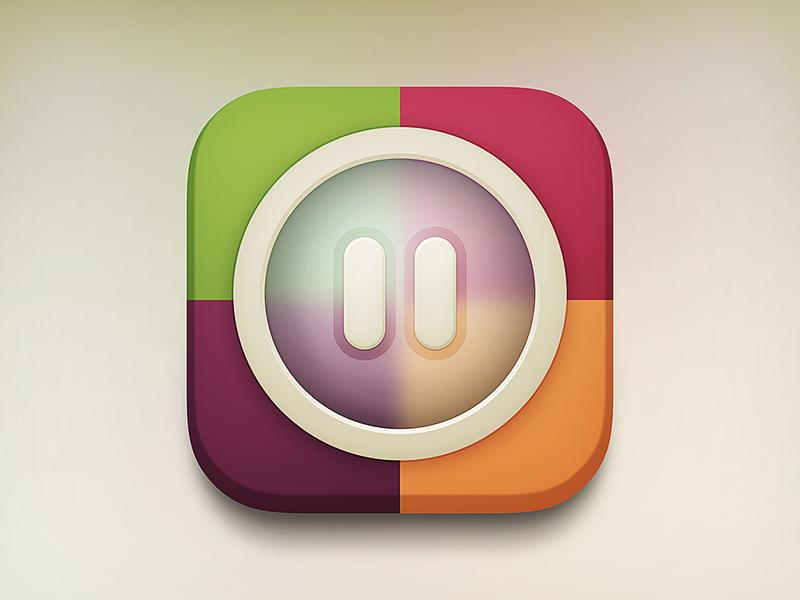 Pause iOS icon ios ios7 iphone ipad icon app design photoshop drawingart
