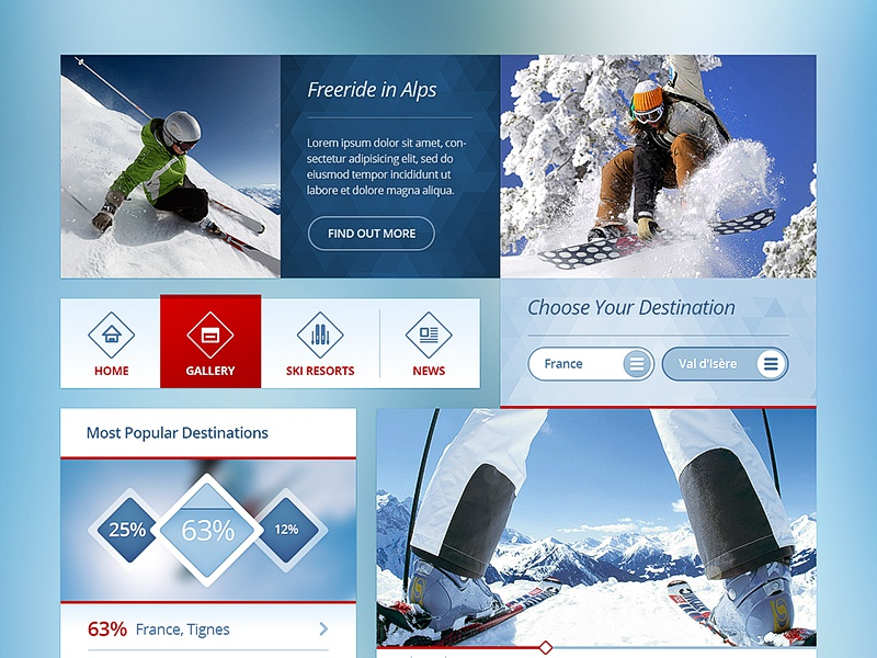 UI Kit (Ski) drawingart design photoshop ui ux ui kit work test