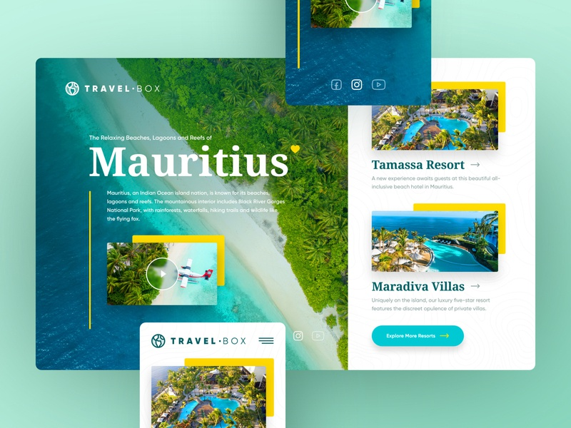 TravelBox surfing vacations sea travel concept header adobexd web responsive ux website ui design drawingart