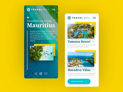 TravelBox Mobile vacations sea photos iphone phone mobile mauritius surf adobexd xd adobe web responsive ux website ui design drawingart